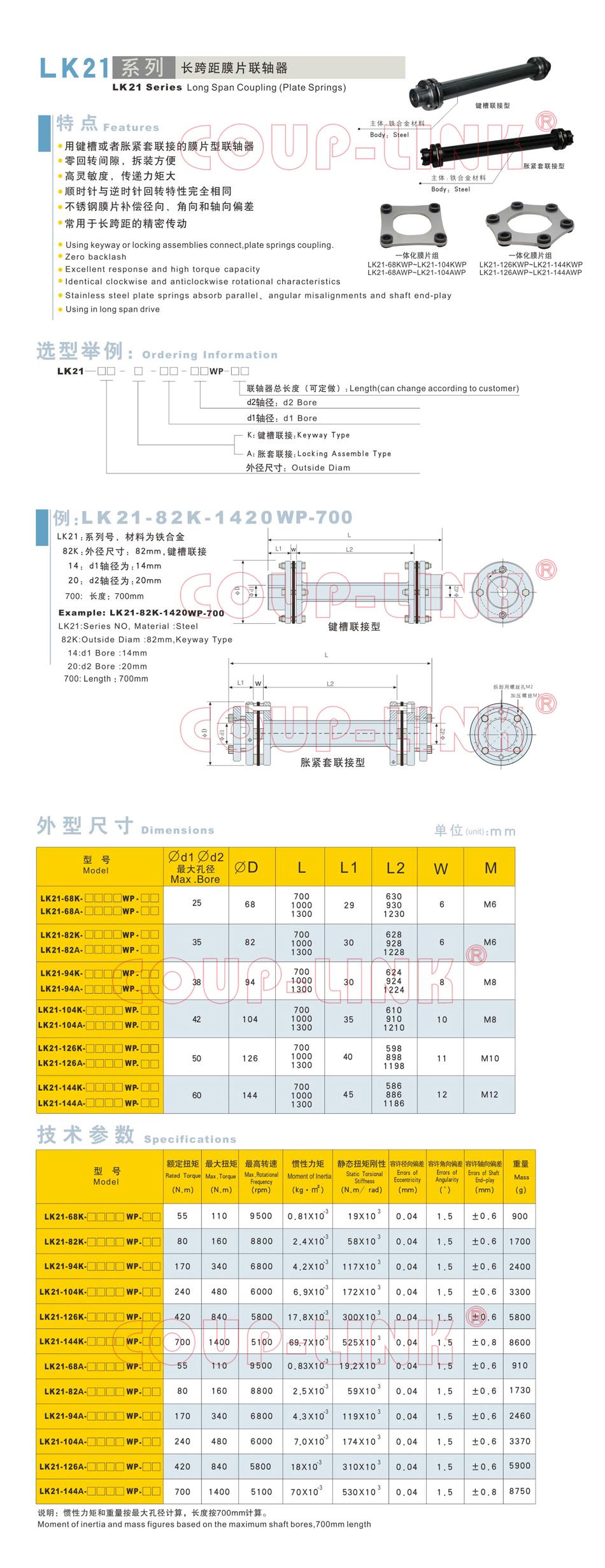 LK21系列 长跨距胀套膜片联轴器_联轴器种类-广州菱科自动化设备有限公司